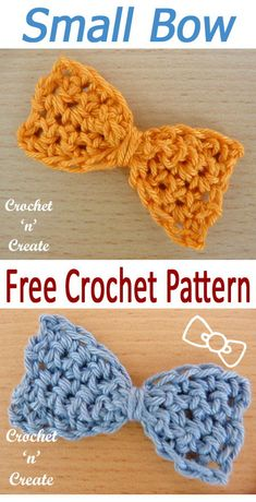 Crochet this small bow applique for many of your, free crochet pattern from Bogen Small Bow Free Crochet Pattern Crochet Bows Free Pattern, Crochet Flower Patterns, Crochet Patterns For Beginners, Crochet Designs, Free Crochet, Boy Crochet, Crochet Appliques, Crochet Bags, Crochet Ideas