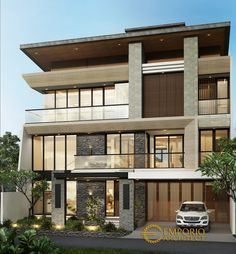 James Private House Design - Jakarta- Quality house design of architectural services, experienced professional Bali Villa Tropical designs from Emporio Architect. House Architecture Styles, Indian Architecture, Modern Exterior House Designs, Modern House Design, Modern Family House, Architectural Services, Modern Tropical, House Elevation, Dream Home Design