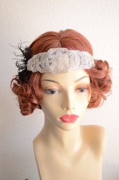 Art deco headpiece,gatsby headpiece,1920s headband,Flapper, Black feathers, Pearl and Rhineston beaded headpiece