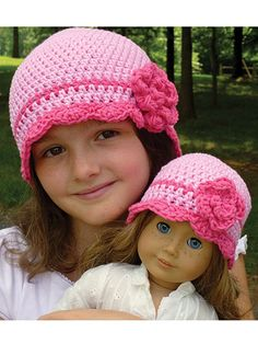 """This sweet hat is available in 5 sizes that's great for year-round wear! Make one for your child's 18"""" doll and a matching one for her -- she'll thank you over and over again! Size: Includes Preemie (18"""" doll) through Adult. Made with medium (worsted) weight yarn and size H/8/5mm hook. Skill Level: Easy"""