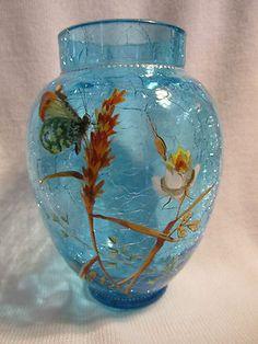 Antique Moser Harrach Crackle Art Glass Vase Enamel Rose Butterfly | eBay