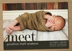 "Baby Announcement: Baby Girl, Baby Boy Birth Announcement, PRINTABLE (""Meet"" Photo Birth Announcement). $15.00, via Etsy."