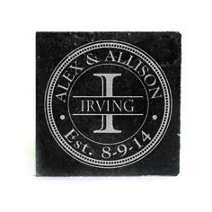 Black Granite Coasters (set of 4) - Circle with Dots Design Personalized with Monogram and Name thru Initial and Est. Date