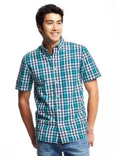 Slim-Fit Classic Plaid Shirt For Men