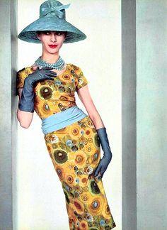 Print dress by Pierre Balmain, French, 1960.