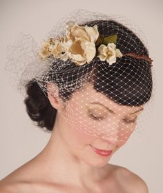 Wedding Headpiece by Sweet Little Sparrow - French Birdcage Bridal Veil & Floral Crown - Cream Flowers w/ Pearl and Crystal Centers via Etsy.