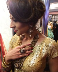 Kundan Princess Haar set modelled by Zahra Khan. One of our beautiful timeless jewellery pieces. Enquire for details www.nisheljewellery.co.uk