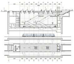 Copenhagen Metro - Drawing showing cross section of a Metro station from the passenger station to the platform with the train and mechanical area below.: