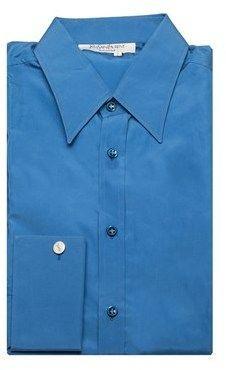 Saint Laurent Men's Cotton Point Collar Dress Shirt Blue.