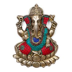CraftVatika God Ganesha Wall Hanging Brass Turquoise wall Hanging Sculpture Hindu good Luck Success God Ganesh wall hangings *** This is an Amazon Affiliate link. Details can be found by clicking on the image.