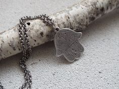 Long Pendnat Necklace Extra Long Necklace Boho Necklace Silver Metal Pendant Bohemian Long Statement Necklace Handcrafted With: Lovely etched Antique Silver Plated lead free Hamsa, Hand of Fatima pendant charm. Also available in bronze. Size: approx. 34mm x 39mm Color: Antique Silver