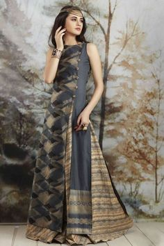 Picture of Fetching grey & beige floor length dress Indian Gowns Dresses, Pakistani Dresses, Indian Outfits, Elisa Cavaletti, Indian Designer Wear, Long Tops, Indian Wear, Dress Patterns, Indian Fashion