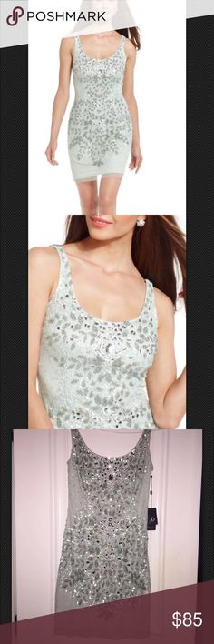NWT Adriana Papell Adrianna Papell Scoop Neckline Sequin Pattern Sheath Dress brand new size 2 Color:mint Adrianna Papell Dresses Prom