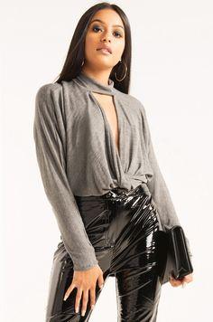 AKIRA High Neck Open Twist Front Cardigan Sweater Top in Black, Dark Grey