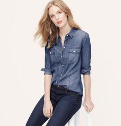 Petite Slub Chambray Softened Shirt | Loft. So versatile.  Every girl should have one of these.