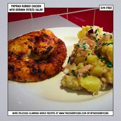 This syn-free german potato salad and paprika chicken is an amazing dish - quick to make, full of unusual flavours. A perfect Slimming World dinner! Remember, at we post a new Slimming World recipe nearly every day. Our aim is good food, low in syns and s Diet Recipes, Chicken Recipes, Cooking Recipes, Healthy Recipes, Recipies, German Potatoes, Slimming World Recipes, Food Dishes, Family Meals