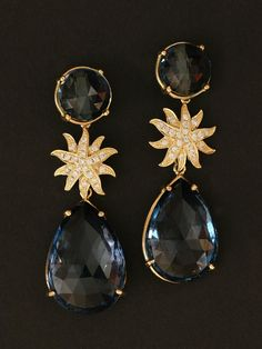 Emily and Ashley 18KT Yellow Gold London Blue Topaz Diamond Starburst Earrings. Detachable Pear Shape Blue Topaz Drops. Available at London Jewelers!
