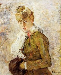 Winter, aka Woman in a muff,  Berthe Morisot.  French Impressionist Painter (1841-1895)