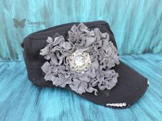 Shabby Chic Hat Frayed Flower Hat Black Cadet by tammydeedesigns