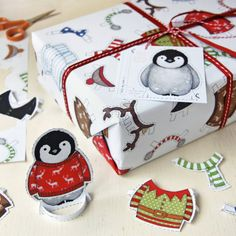 Dress Up A Penguin Interactive Wrapping Paper Set. Festive Gift Wrap. Quirky Eco Friendly Paper. Children's Christmas Wrap. Toy Penguin.
