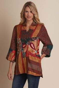 Desert Rose Jacket - Soft Surroundings - A folklorique patchwork of color and texture, bright hand-embroidery contrasts with rich autumn hues in this artisan-made tapestry jacket. Designed with three-quarter bell sle