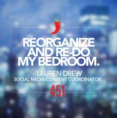 """We're sharing our #451Resolutions for 2015.   Resolution of the Day:   """"Reorganize and re-do my bedroom.""""  - Lauren Drew, Social Media Content Coordinator"""