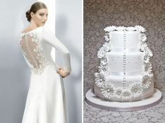 This cake design focuses on the flowers and lace back of a Jesus Peiro model. Note the buttons, too! Cake: Lace&Cakes.