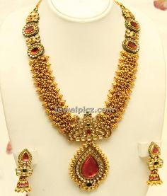Gold tussi haram earrings from vummidi jewellers