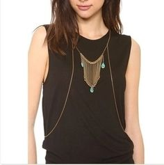 Simple Thin Gold Body Chest Necklace Chain Gold Turquoise Bead FREE SH