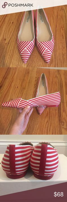 """Sz 39 NEW LK Bennett """"Dale"""" flats!! Beautiful brand new pointed toe Dale flats from LK Bennett. Red and white grosgrain and leather. Made in Spain. Sz 39, please know your Euro sizing ❤ Originally $275 LK Bennett Shoes Flats & Loafers"""