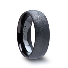 OBSIDIAN Domed Black Tungsten Carbide Ring with Sandblasted Crystalline Finish - 4mm & 8mm