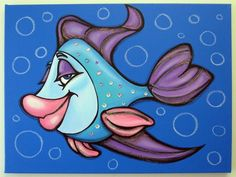 my sister absolutely loves fish and i made this for her. she recently got married so i had to turn her love of fish into a present. i pictured her and her husband in my cute fish couple. Art Wall Kids, Canvas Wall Art, Art For Kids, Easy Canvas Painting, Painting For Kids, Stone Painting, Painting & Drawing, Cartoon Fish, Sea Glass Crafts