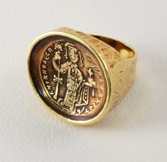 18K gold ring by Ed Wiener with a rare Byzantine coin; purchased around 1968 from Ed Wiener in New York