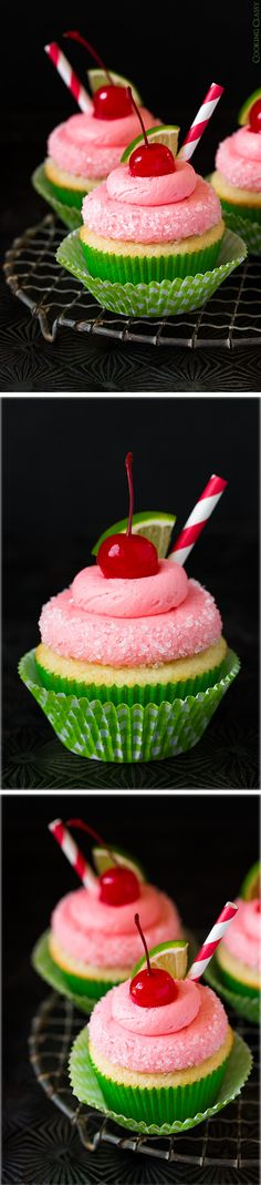 Cherry Limemade Cupcakes - These cupcakes are delicious and so fun for summer! As I sit here, drinking my Cherry Lime seltzer. I know what cupcakes are on my next up list! Baking Cupcakes, Yummy Cupcakes, Cupcake Recipes, Cupcake Cakes, Dessert Recipes, Just Desserts, Delicious Desserts, Yummy Food, Food Cakes