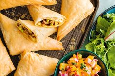 Crispy lamb samosas with fresh mango salsa - Add some spice to your weeknights with these crispy lamb samosas served with a sweet and spicy mango salsa.