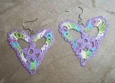 Brinco de Crochê Coração / Earrings Crochet Heart