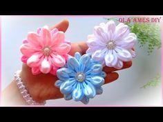 Цветы из атласной ленты/Канзаши/Ribbon Flower Tutorial/Kanzashi Flowers/Flores de fitas/Ola ameS DIY - YouTube
