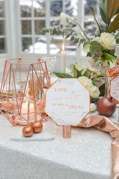 geometric copper wedding table number via 4lovepolkadots / http://www.deerpearlflowers.com/modern-copper-marble-wedding-inspiration/