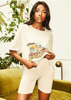 34b4d2728 Tilly Beige Basic Cycle Shorts. Karla Sand Slogan Cruisin' Oversized T-Shirt  Missy Empire