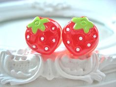 Strawberry plugs for gauged ears 16 mm 5/8  by DinaFragola on Etsy, $16.00