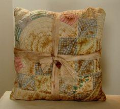 Quilt Pillows Primitive Tea Stained Housewares by psprimitives, $9.50