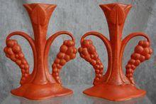 Cowan Pottery Art Deco Candlesticks #S-959, Pair, Ca. 1930, Oriental Red