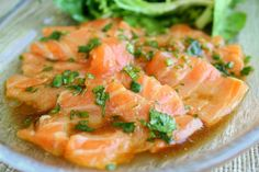 Salmon Sashimi with Shishito Pepper Sauce - Rustic Garden Bistro Salmon Appetizer, Asian Recipes, Healthy Recipes, Salmon Sashimi, Sweet Sauce, What To Cook, Seafood, Good Food, Appetizers