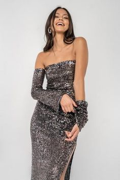 Get ready to party! The Ares is a fitted, strapless top with optional removable sleeves,... Ready To Wear, Sequins, Formal Dresses, Party, Skirts, Sleeves, Model, How To Wear, Tops