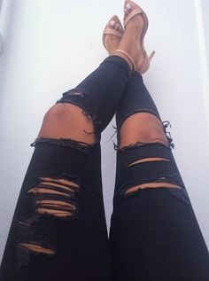 ripped jeans tan and nude heels love this just have to get my thin thighs back after bub