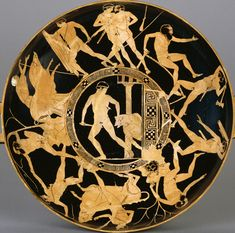 The deeds of Ancient Greek hero Theseus, on an Attic red-figured kylix, c. 440–430 BC. The center shows Theseus slaying the Minotaur, the act for which he is most famous.