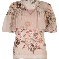 Pink floral cape neck frill top