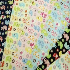 Small Pattern Elephants With Flowers Floral 100% Cotton Fabric