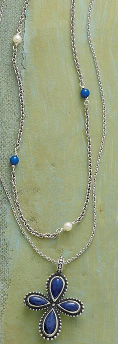 Spring Collection - Layer with the Pearl & Lapis Chain Necklace and Beaded Sodalite Cross on a Light Cable Chain #JamesAvery