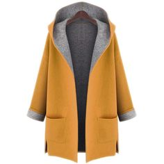 Hooded Patch Pocket Side-Vented Plus Size Coat (€21) ❤ liked on Polyvore featuring outerwear, coats, jackets, coats & jackets, long coat, womens plus coats, long hooded coat, women's plus size coats and plus size long coats